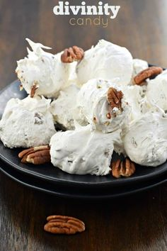 Divinity Candy is a Southern classic. Just one bite and you'll be hooked on this chewy, soft vanilla treat packed with crunchy pecans! Köstliche Desserts, Sweets Recipes, Candy Recipes, Holiday Recipes, Delicious Desserts, Fudge Recipes, Plated Desserts, Pecan Recipes, Top Recipes