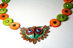 Owl Necklace with Green and Orange Mother of Pearl by Exgalabur, $26.00