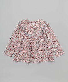 Loving this Light Blue & Red Floral Lace Top - Kids on #zulily! #zulilyfinds