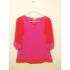 Banana Republic   Pink and Orange 3/4 Sleeve Top Only worn once or twice. Love this piece with skinny jeans and wedges! Perfect condition. The colors are very bright in person. Banana Republic Tops Blouses