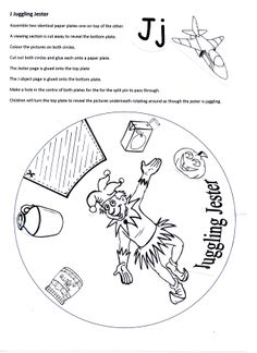 J Juggling Jester (page 1 of 2) paper craft for Letter of the Week.  Two paper plates rotate one on top of the other revealing pictures starting with the letter J.