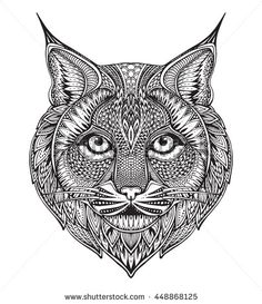 Hand drawn graphic ornate bobcat with ethnic floral doodle pattern.Vector illustration for coloring book, tattoo, print on t-shirt, bag. Isolated on a white background.