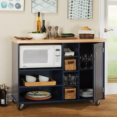 Shop Simple Living Rolling Galvin Microwave Cart - On Sale - Overstock - 18848623 Microwave Storage, Microwave Cabinet, Microwave Cart, Microwave In Kitchen, Kitchen Pantry, New Kitchen, Kitchen Dining, Kitchen Decor, Kitchen Carts