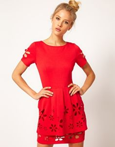Enlarge ASOS Peplum Skater With Daisy Cutwork