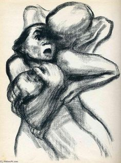 Käthe Kollwitz - Death Seizes a Woman (Tod packt eine Frau) from the series Death (Tod) Nocturne, Karl Schmidt Rottluff, Kathe Kollwitz, George Grosz, Art Database, Character Drawing, Life Drawing, Drawing People, Sculpture