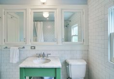 Superb Recessed Medicine Cabinet vogue Seattle Traditional Bathroom Decorating ideas with green vanity inset cabinets lever faucet Marble Countertop medicine cabinet mirrored cabinets open sink Bathroom Renos, Bathroom Storage, Master Bathroom, Bathroom Green, Bathroom Ideas, Bathroom Designs, Bathroom Inspiration, Vanity Bathroom, Bathroom Mirror Cabinet