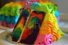 - Inside my neon rainbow cake!