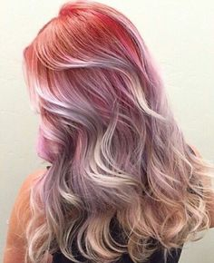 Pastel ombre dyed hair color @thefreshestnailart