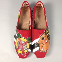 Chicago+Blackhawks+Custom+Painted+Toms+by+SarahLynnCustoms+on+Etsy