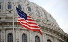 Download wallpapers flag of USA, American flag, Washington, USA, Capitol, flagpole, 4k