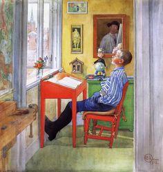 Esbjorn Doing His Homework - Carl Larsson, 1912