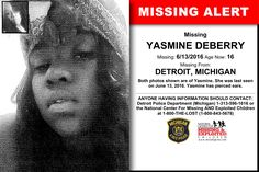 YASMINE DEBERRY, Age Now: 16, Missing: 06/13/2016. Missing From DETROIT, MI. ANYONE HAVING INFORMATION SHOULD CONTACT: Detroit Police Department (Michigan) 1-313-596-1616.