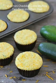 Zucchini Cheddar Corn Muffins from http://twopeasandtheirpod.com. Great with any meal!