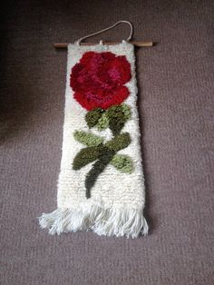 Woven wall hanging Vintage wall hanging hand woven tapestry Black Carpet, Green Carpet, One Rose, Rose Wall, Woven Wall Hanging, Tapestry Weaving, Vintage Walls, All Brands, Christmas Stockings