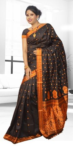 Beautiful Black colour Assam Silk Pat saree with artistic Suta Work giving a gorgeous look to the saree. This collection is perfect for any festive occasion. The Saree comes with matching blouse piece, the blouse shown in the image is just for display purpose.Slight colour variation may be there in display & actual.