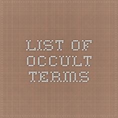 List of Occult Terms