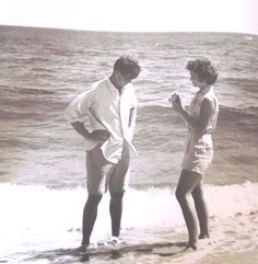 http://en.wikipedia.org/wiki/Jacqueline_Kennedy_Onassis  The inquiring photographer and the upcoming Senator spend some time on the Hyannisport beach, a few months before they wed in September of 1953.