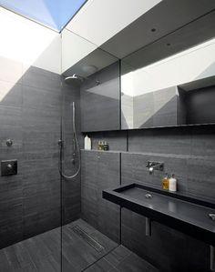 Top 60 Best Black Bathroom Ideas - Dark Interior Designs From traditional to modern, discover the top 60 best black bathroom ideas. Explore dark themed interior designs for your home. Dark Bathrooms, Small Bathroom, Bathroom Ideas, Bathroom Organization, Shower Bathroom, Bath Ideas, Tile Showers, Glass Showers, Loft Bathroom