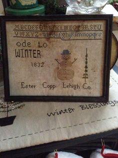 Primitive Ode to Winter Sampler by smallcorners on Etsy, $54.00