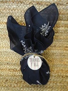 Cowgirl party favors - treat/candy wrapped in bandana with tag