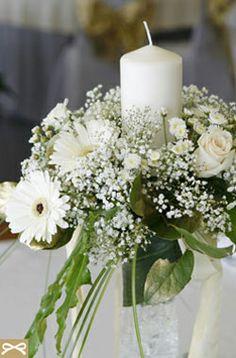 λαμπαδες με λευκες ζερμπερες και γυψοφυλλο