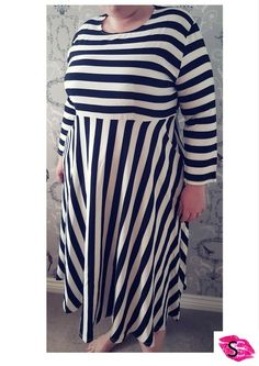 Black and White Striped Dress with Pockets Sazzmatazz Plus size Unique Limited edition fashion