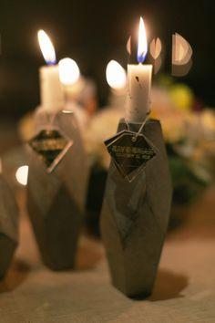 Custom candleholders.  Planner: Nicole Bean. Photography: Sunny 16 Photography - sunny16photos.com  Read More: http://www.stylemepretty.com/2014/06/26/geometric-themed-wedding-full-of-diy/