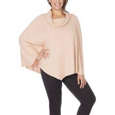 Plus Size Plus Moda Women's Plus Cowl Knit Poncho, Size: 4XL, Brown