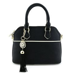 Mini Dome Satchel Crossbody Bag with Tassel Accent Black *** Read more reviews of the product by visiting the link on the image.
