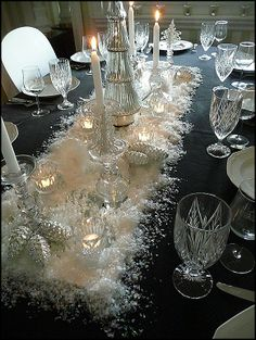~ Elegant ~ Long Mirror, Faux Snow, Crystal Candle Holders & Silver Pine Cones....Great Centerpiece....