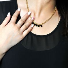 Onyx set in our droplets necklace #pinchandfold #chic #jewellery