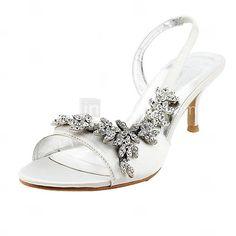 Satin Upper Mid Heel Strappy Sandals Wedding Bridal Shoes $69.99