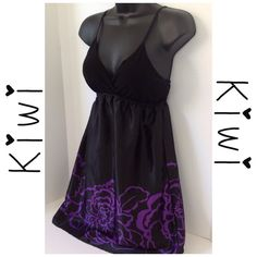 Kiwi Black & Purple Dress - Size Small Gently Used in Good Condition.  See labels in picture for additional information.   Happy Poshing !   Final   Kiwi Dresses