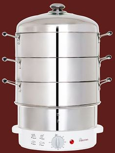3. Secura 3-Tier 6-Quart Stainless Steel Electric Food Steamer
