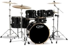 PDP Kits - Pacific Drums and Percussion: Concept Maple (CM7 shown) - Pearlescent Black with Black Hardware