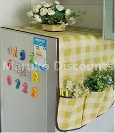 Refrigerator Dust Cover 6 Pocket Bags Storage Fridge Kitchen Organizer