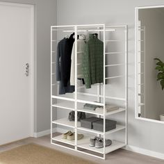 JONAXEL Shelving unit with clothes rail, It can be difficult to keep things neat and tidy. JONAXEL storage system lets you utilize the spaces you have in smarter ways. Clothes Rail Ikea, Wardrobe Shelving, Console, Large Wardrobes, Open Wardrobe, Frame Shelf, Ikea Family, Modern Master Bedroom, Shelves In Bedroom