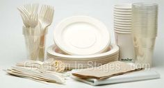 Compostable Tableware Party Kit for Green Events. Great idea, one stop shopping for all your Compostable tableware needs. Picnics, family reunions, eco-friendly events.  So convenient, includes bagasse disposable plates, corn starch glasses, ecotainer cups, corn starch cutlery, napkins and even compostable garbage bags.