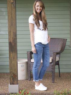 white tee, boyfriend jeans, white Superga tennis shoes