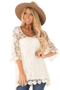 40ee01753ee453 Cream Sheer Floral Embroidered Top with Layered Bell Sleeves front ...