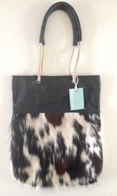 Shopper Touwhengsel BlackSpottedmix Cow Handmade cowskin and leather bag