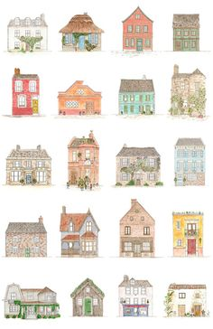 Houses Art Print - I could recreate this poster with fairy princess castles! Building Illustration, House Illustration, Painting Inspiration, Art Inspo, House Drawing, House Sketch, Buch Design, Art Lessons, Home Art