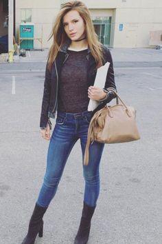 Bella Thorne wearing Miu Miu Leather Tote