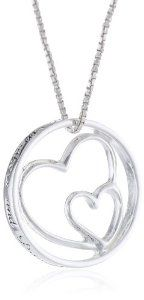 "Sterling Silver ""Mothers and Daughters Are Joined In the Heart"" Double Heart Pendant Necklace , 18"""