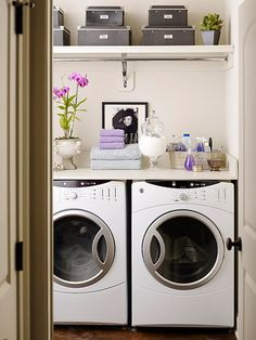 Storage for Tight Spaces          Because you can't afford to waste a sliver of space in a tiny laundry room, take storage as high as you can with shelving. Keep the design simple to prevent the room from feeling overcrowded.