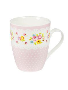 Vintage Tasse Blümchen Punkte rosa-bunt