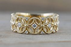 Yellow Gold Diamond Milgrain Etched Floral Vintage Anniversary Wedding Wide Right Hand Band Ring White Gold Wedding Rings, White Gold Rings, Diamond Wedding Bands, Gold Bands, Gold Knot Ring, Silver Ring, Silver Jewelry, Before Wedding, Vintage Engagement Rings