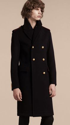 Navy Technical Wool Military Overcoat