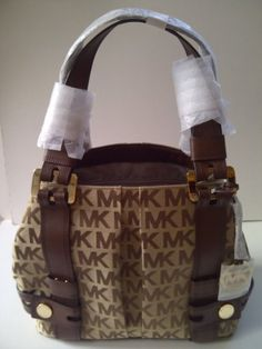 Michael Kors Signature Monogram Jacquard Harness Grab Bag Beige / Ebony / Mocha