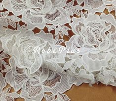 White lace fabric Floral white lace-White Floral by RobePlus